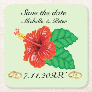 """Personalisierte tropische Hochzeit """"Save the Date Rechteckiger Pappuntersetzer"""
