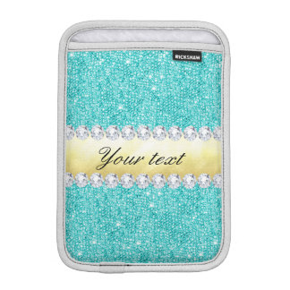 Personalisierte Türkissequins-Golddiamanten iPad Mini Sleeve