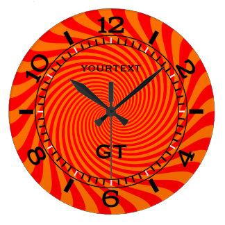 Personalisierte vibrierende heiße orange große wanduhr