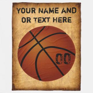 Personalisierte Vintage Basketball-Fleece-Decke Fleecedecke