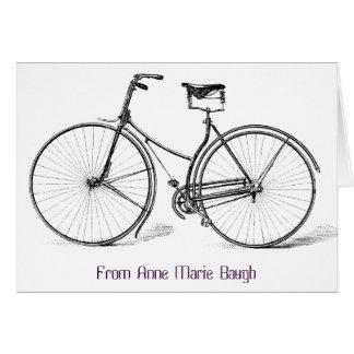 Personalisierte Vintage Fahrrad-Anmerkungs-Karte Mitteilungskarte