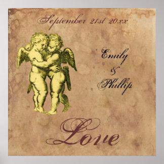 Personalisierte Vintage Grunge-Engel-Liebe Plakate
