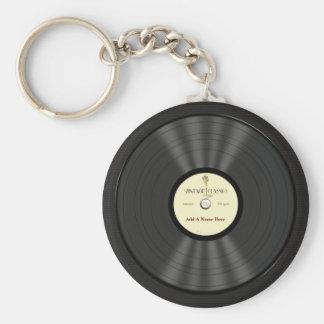 Personalisierte Vintage Mikrofon-Vinylaufzeichnung Standard Runder Schlüsselanhänger
