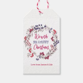 Personalisierte Watercolor Wreath Geschenkanhänger