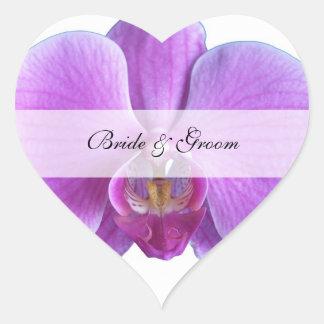 Personalisierte Wedding Herz-Aufkleber -- Orchid