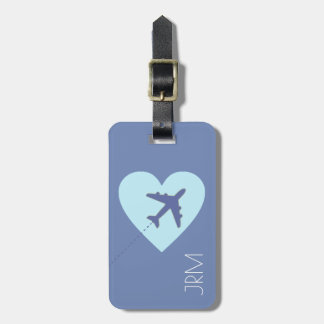 personalisierte weibliche blaue Liebeflugzeugreise Gepäckanhänger