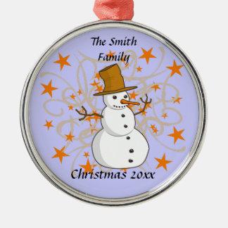 Personalisierte Weihnachtssnowman-Verzierung Silbernes Ornament