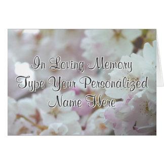 Personalisierte weiße Blüten-Karten-Denkmal-Karte