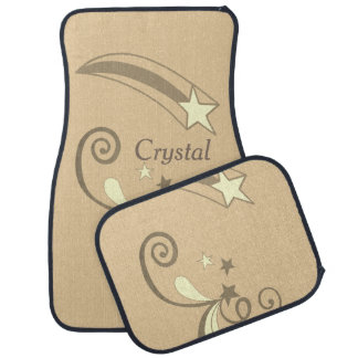 Personalisierte weiße Schießen-Sterne TANs blühen Autofußmatte
