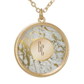 personalisierte weißes Goldmarmorhalskette Vergoldete Kette