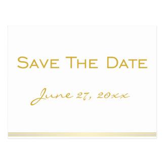 Personalisierte weißes GoldSave the Date Postkarte