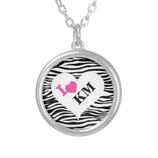 Personalisierte Zebra-Druck-Herz-Initialen-Halsket Amulett