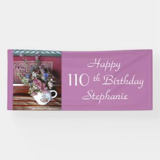 Personalisierter 110. Geburtstags-Vintage Teekanne Banner