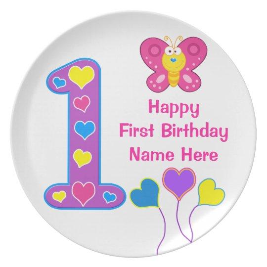 PERSONALISIERTER 1. Geburtstags-Teller für Teller