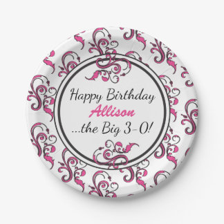 Personalisierter 30. Geburtstags-rosa Wirbel Pappteller
