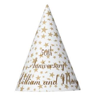 Personalisierter 50. Jahrestags-goldene Sterne Partyhütchen