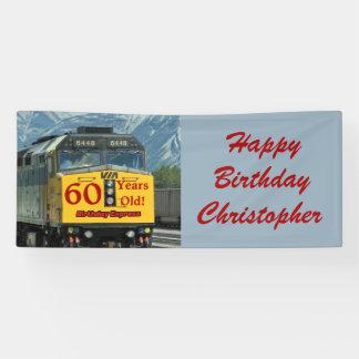 Personalisierter 60. Geburtstags-Gelb-Zug-Motor Banner