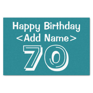 Personalisierter 70. Geburtstags-Themed Seidenpapier