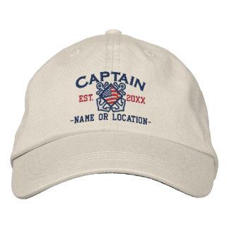 Personalisierter amerikanischer Kapitän Nautical Bestickte Baseballmützen
