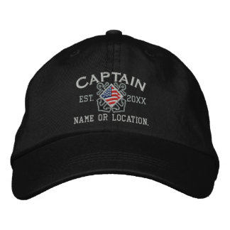 Personalisierter amerikanischer Kapitän Nautical Bestickte Caps
