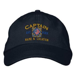 Personalisierter amerikanischer Kapitän Nautical Bestickte Mütze