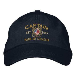 Personalisierter amerikanischer Kapitän Nautical Bestickte Baseballcaps