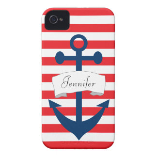 Personalisierter Anker-roter Streifen iPhone 4/4S Case-Mate iPhone 4 Hülle
