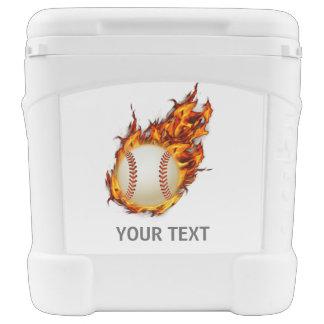 Personalisierter Baseball-Ball auf Feuer Rollkühlbox