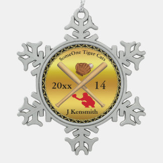 Personalisierter Baseball-Meister-Ligaentwurf rd Schneeflocken Zinn-Ornament