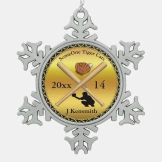 Personalisierter Baseball-Meister-Ligaentwurf Schneeflocken Zinn-Ornament