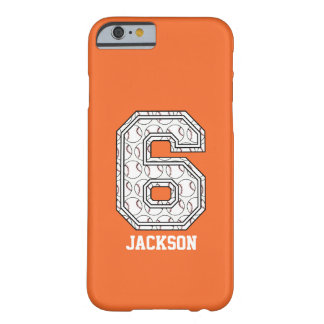 Personalisierter Baseball Nr. 6 Barely There iPhone 6 Hülle