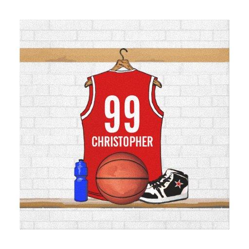Personalisierter Basketball Jersey (rot) Gespannte Galerie Drucke