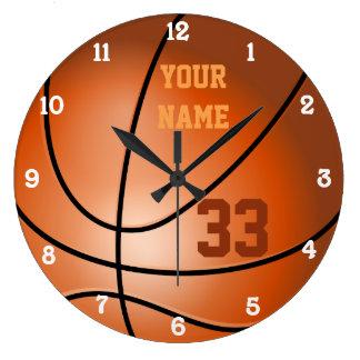 Personalisierter Basketball-Name und Zahl Große Wanduhr