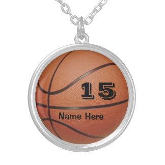 Personalisierter Basketball-Schmuck NAME und ZAHL Halskette Mit Rundem Anhänger