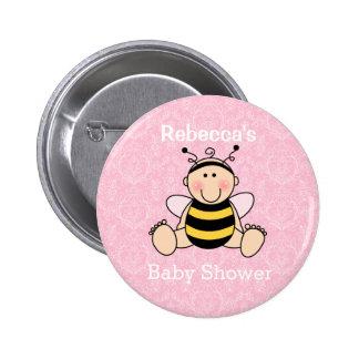 Personalisierter Bienen-Baby-Duschen-Knopf Runder Button 5,7 Cm