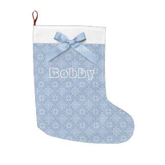 Personalisierter blauer Bogen mit blauem und Großer Weihnachtsstrumpf