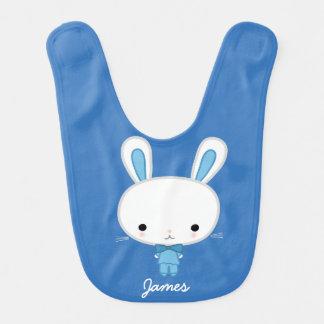 Personalisierter blauer Häschen-Baby-Schellfisch Lätzchen