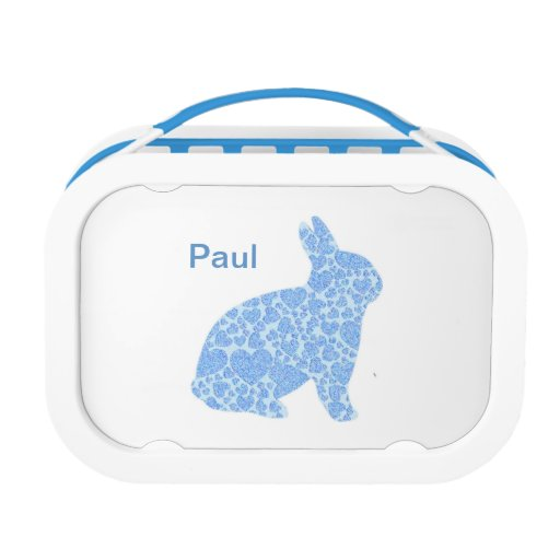 Personalisierter blauer Häschen-KaninchenLunchbox