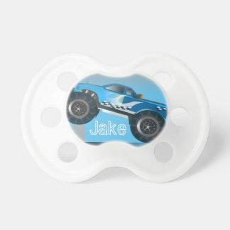 Personalisierter blauer Monster-LKW Schnuller