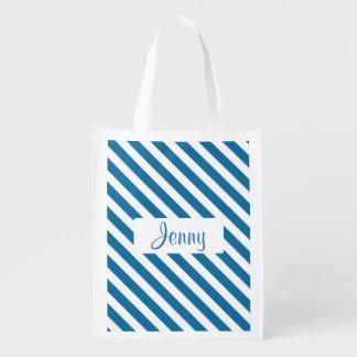 Personalisierter blauer Namensstreifen Einkaufstaschen