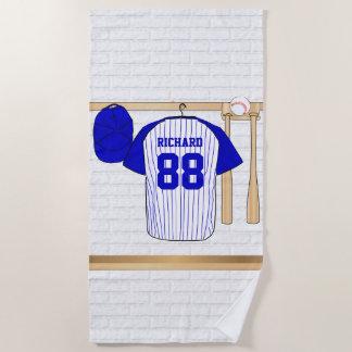 Personalisierter blauer und weißer Baseball Jersey Strandtuch