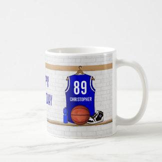 Personalisierter blauer und weißer Basketball Kaffeetasse