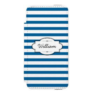Personalisierter blauer und weißer horizontaler incipio watson™ iPhone 5 geldbörsen hülle