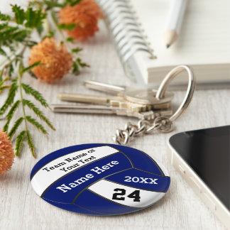 Personalisierter blauer und weißer Volleyball Schlüsselanhänger