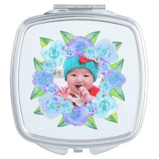 Personalisierter blauer WatercolorblumenWreath Taschenspiegel