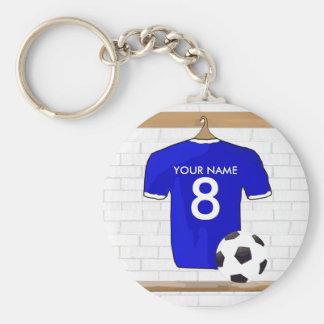 Personalisierter blauer weißer Fußball-Fußball Standard Runder Schlüsselanhänger
