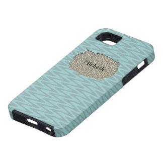 Personalisierter blaues Grau-Silber-Zickzack Schutzhülle Fürs iPhone 5