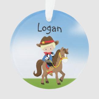 Personalisierter blonder Cowboy auf Ornament
