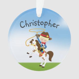 Personalisierter blonder Cowboy mit Ornament