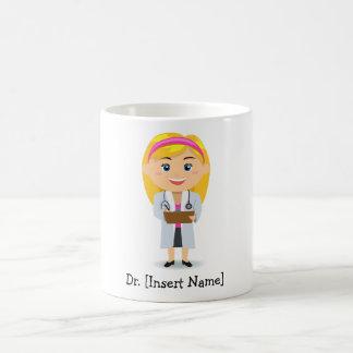 Personalisierter blonder weiblicher Doktor Kaffeetasse